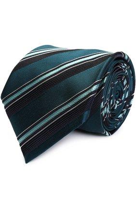 Мужской шелковый галстук в полоску BRIONI бирюзового цвета, арт. 062I/06490 | Фото 1