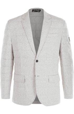 Утепленная стеганая куртка на пуговицах с отложным воротником