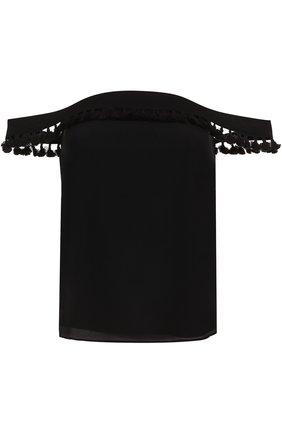 Шелковый топ с открытыми плечами | Фото №1