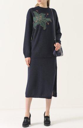 Пуловер свободного кроя с цветочным принтом Tak.Ori синий | Фото №1