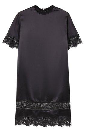 Шелковое платье прямого кроя с кружевной отделкой