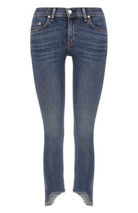 Укороченные джинсы-скинни с потертостями Rag&Bone синие | Фото №1