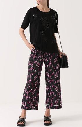 Укороченные широкие брюки с цветочным принтом Sonia by Sonia Rykiel черные | Фото №1