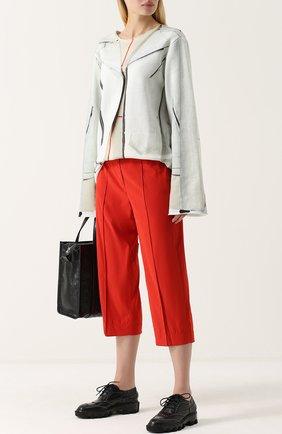 Укороченные брюки прямого кроя со стрелками Mm6 красные   Фото №1