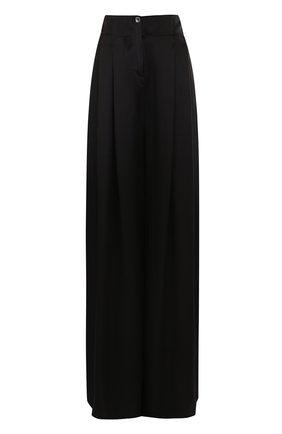 Шелковые широкие брюки с защипами Raquel Allegra черные | Фото №1