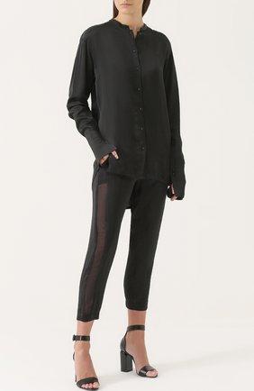 Женская удлиненная блуза с воротником-стойкой Ilaria Nistri, цвет черный, арт. 24CY302/9 в ЦУМ | Фото №1
