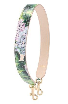 Кожаный ремень для сумки с цветочным принтом Dolce & Gabbana кремвого цвета | Фото №1