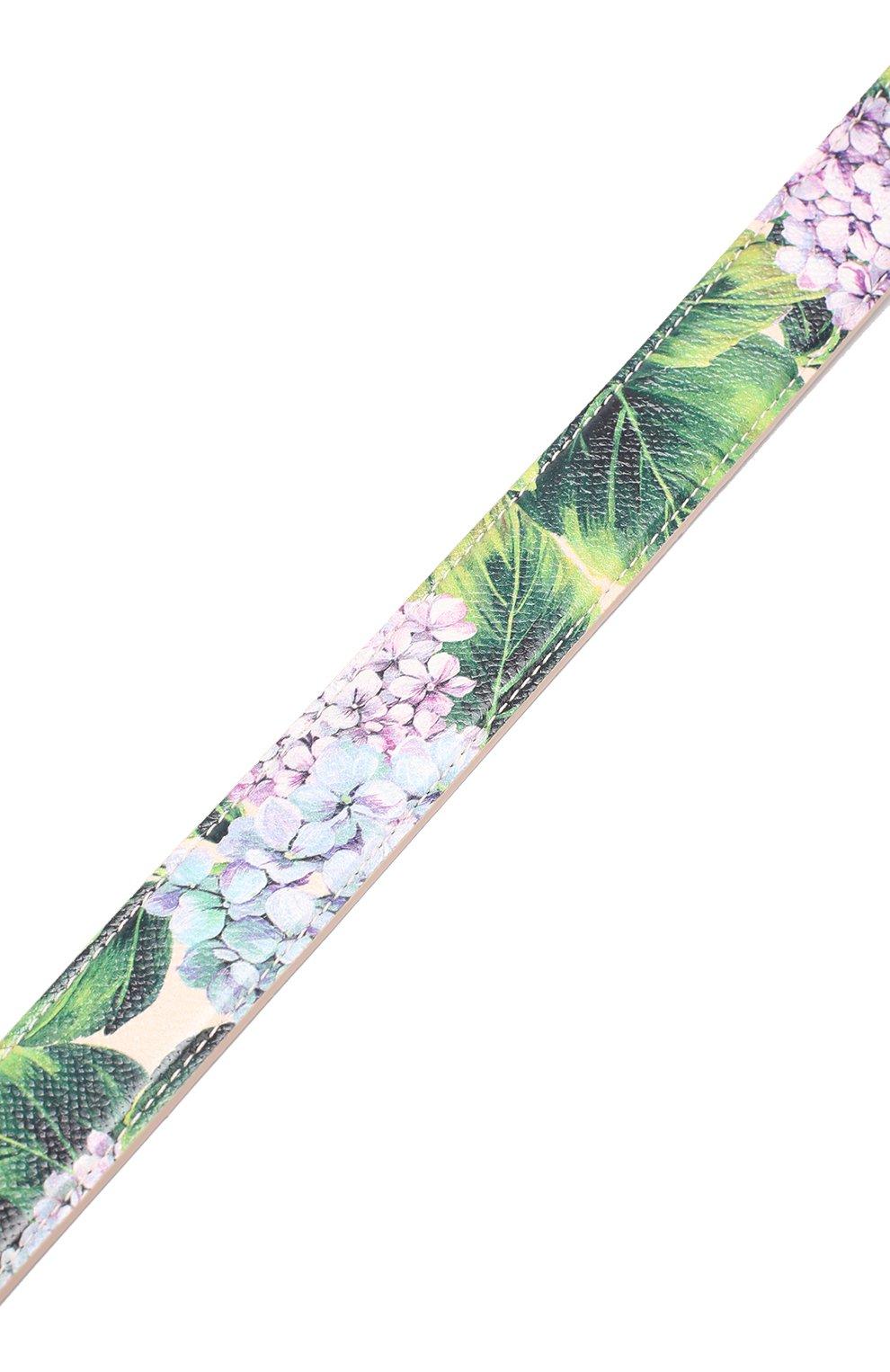 Кожаный ремень для сумки с цветочным принтом Dolce & Gabbana кремвого цвета | Фото №4