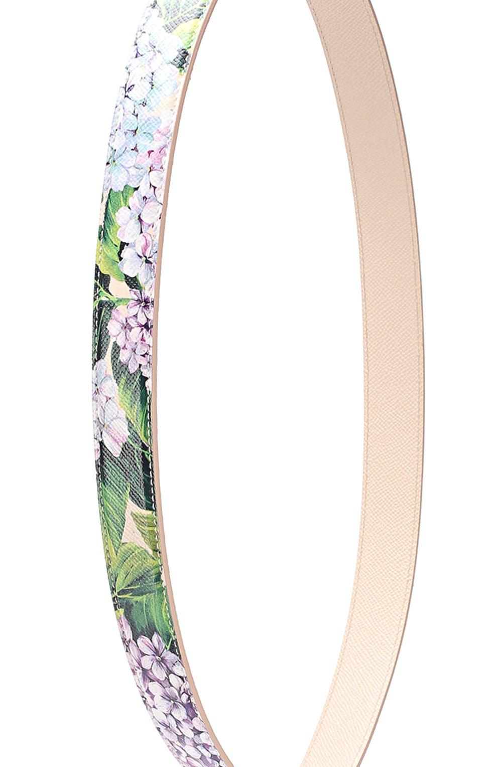 Кожаный ремень для сумки с цветочным принтом Dolce & Gabbana разноцветного цвета | Фото №2