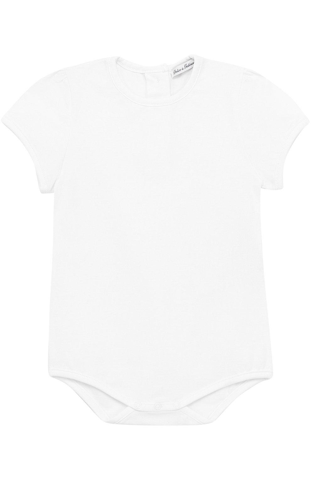 Комплект из хлопкового боди с нагрудником Dolce & Gabbana белого цвета   Фото №2