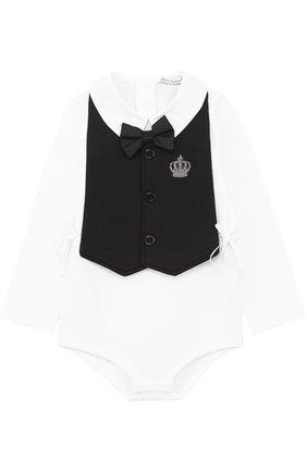 Детское комплект из хлопкового боди с нагрудником и декором DOLCE & GABBANA белого цвета, арт. 0131/L1UG56/FUGFN | Фото 1