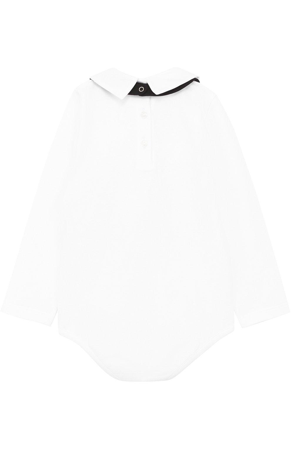 Комплект из хлопкового боди с нагрудником и декором Dolce & Gabbana белого цвета | Фото №2