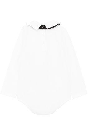 Детское комплект из хлопкового боди с нагрудником и декором DOLCE & GABBANA белого цвета, арт. 0131/L1UG56/FUGFN | Фото 2