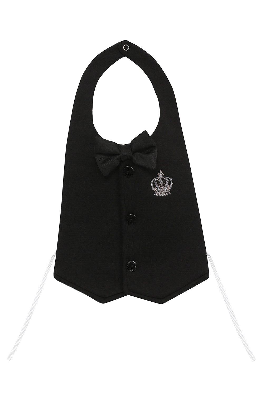 Комплект из хлопкового боди с нагрудником и декором Dolce & Gabbana белого цвета | Фото №3