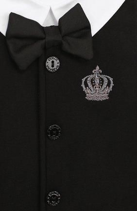 Комплект из хлопкового боди с нагрудником и декором Dolce & Gabbana белого цвета | Фото №4