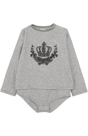Хлопковое боди с вышивкой Dolce & Gabbana серого цвета | Фото №1