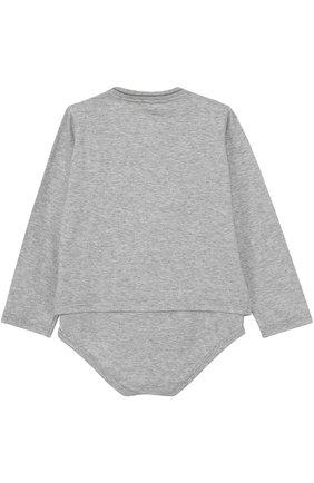 Хлопковое боди с вышивкой Dolce & Gabbana серого цвета | Фото №2