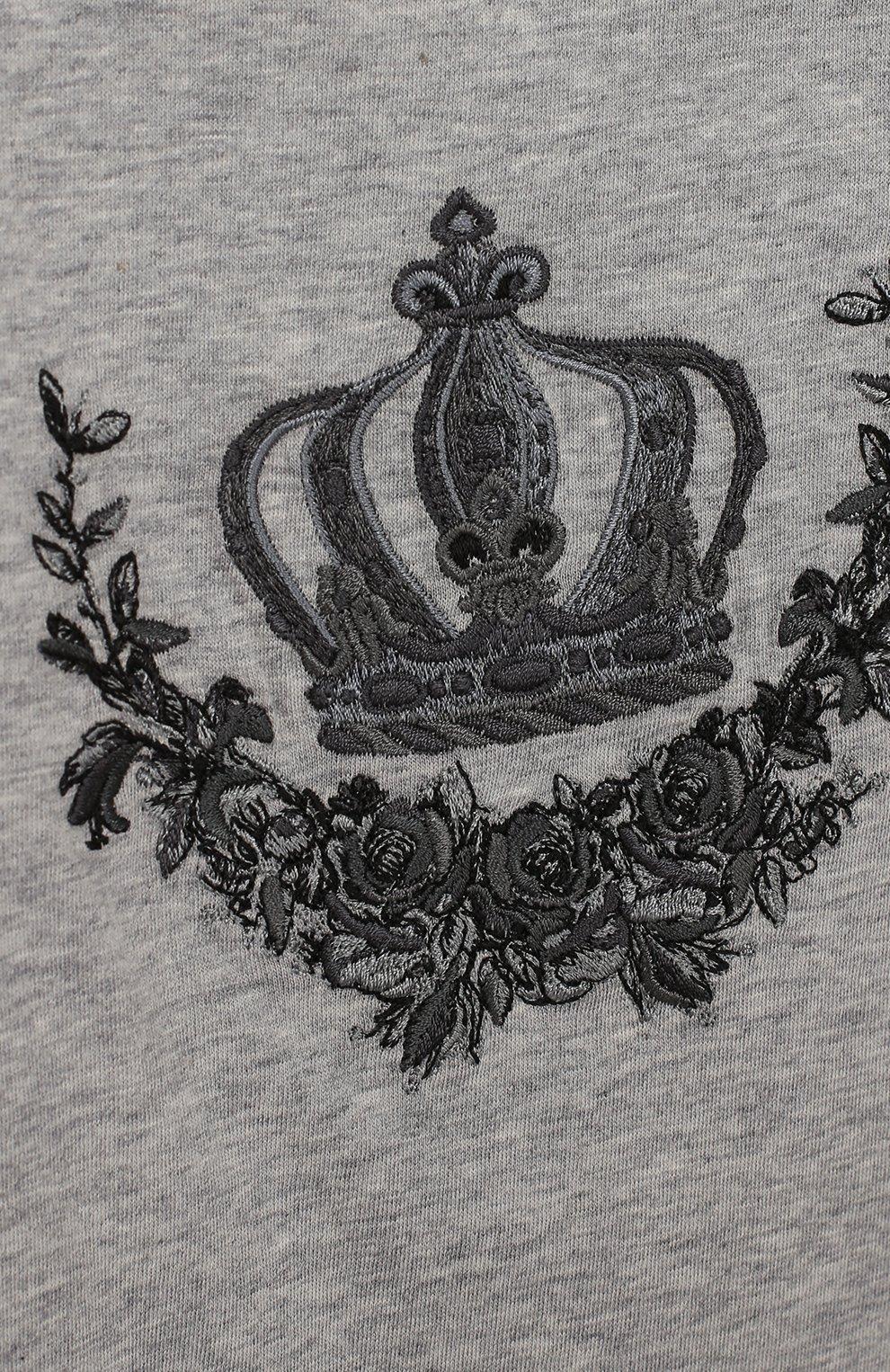 Хлопковое боди с вышивкой Dolce & Gabbana серого цвета | Фото №3