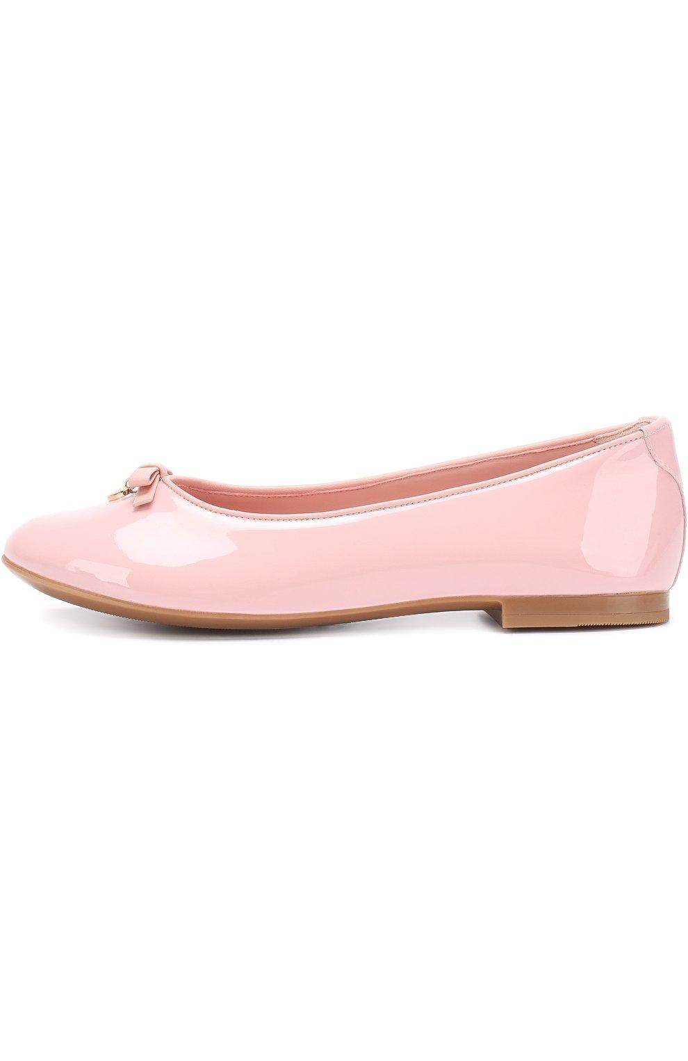 Детские лаковые балетки Dolce & Gabbana розового цвета | Фото №2