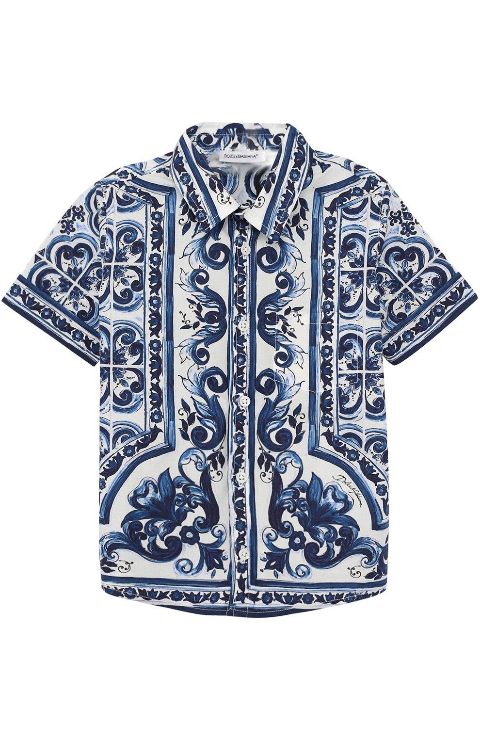 Хлопковая рубашка с принтом   Фото №1
