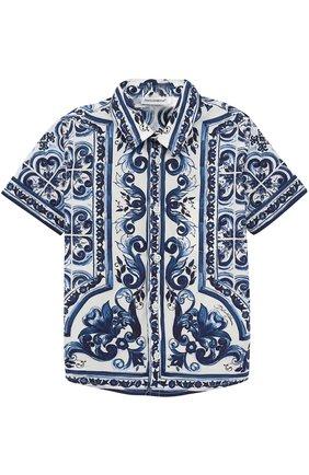 Хлопковая рубашка с принтом Dolce & Gabbana голубого цвета   Фото №1