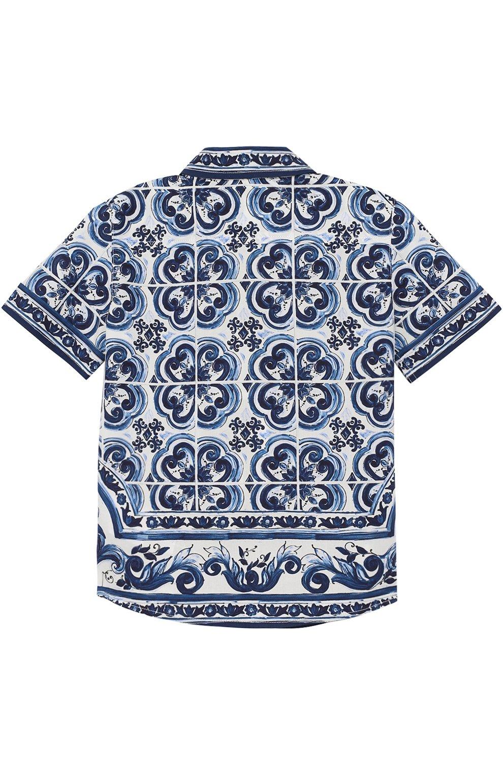 Хлопковая рубашка с принтом Dolce & Gabbana голубого цвета   Фото №2
