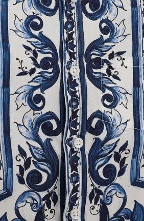 Хлопковая рубашка с принтом Dolce & Gabbana голубого цвета   Фото №3