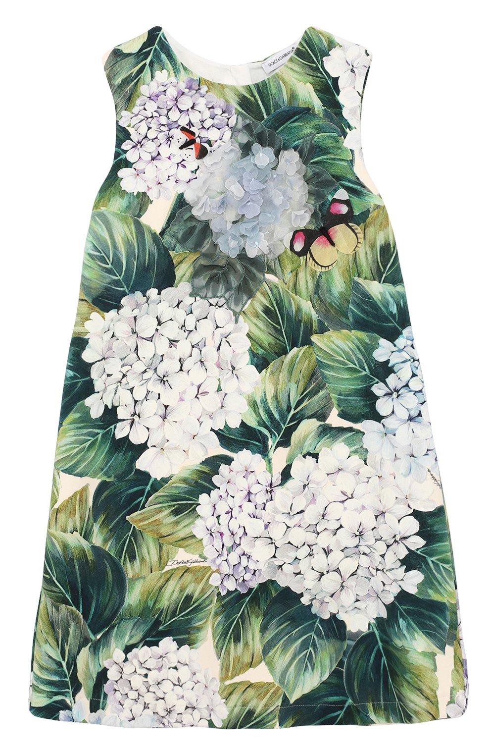 Хлопковое платье А-силуэта с цветочным принтом и аппликациями | Фото №1