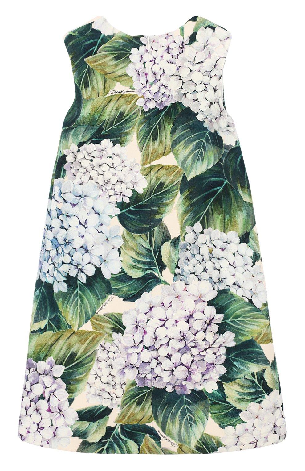 Хлопковое платье А-силуэта с цветочным принтом и аппликациями | Фото №2