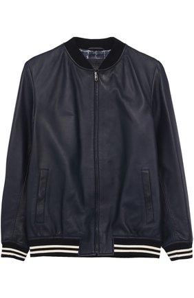 Кожаный бомбер с эластичными манжетами Dolce & Gabbana темно-синего цвета   Фото №1