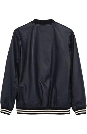 Кожаный бомбер с эластичными манжетами Dolce & Gabbana темно-синего цвета   Фото №2