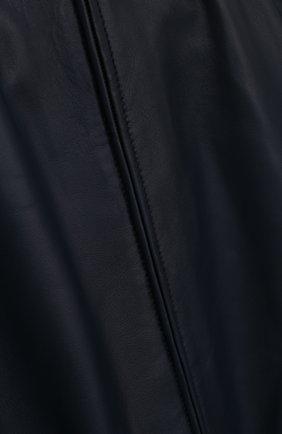 Кожаный бомбер с эластичными манжетами Dolce & Gabbana темно-синего цвета   Фото №3