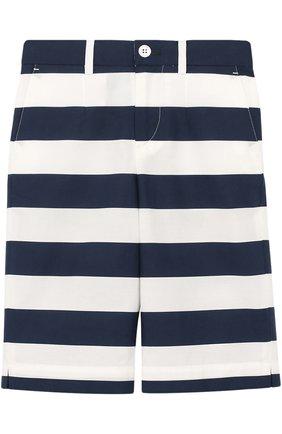 Детские хлопковые шорты в полоску прямого кроя Dolce & Gabbana синего цвета | Фото №1