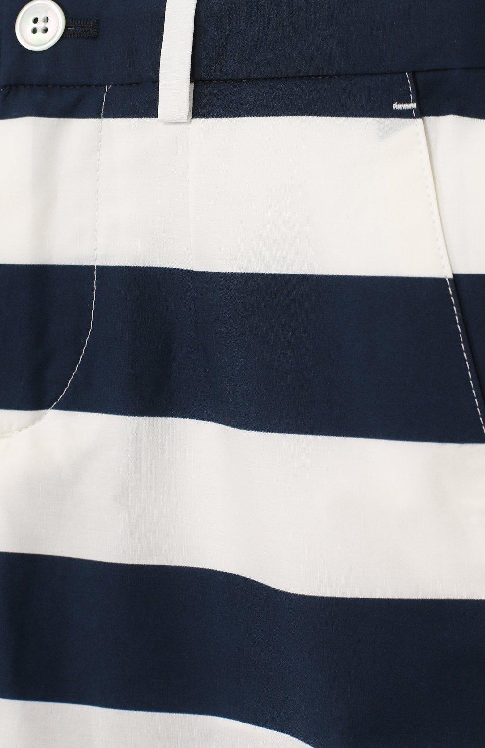 Детские хлопковые шорты в полоску прямого кроя Dolce & Gabbana синего цвета | Фото №3