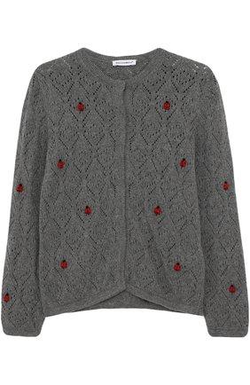 Детский кардиган фактурной вязки с декором Dolce & Gabbana серого цвета   Фото №1