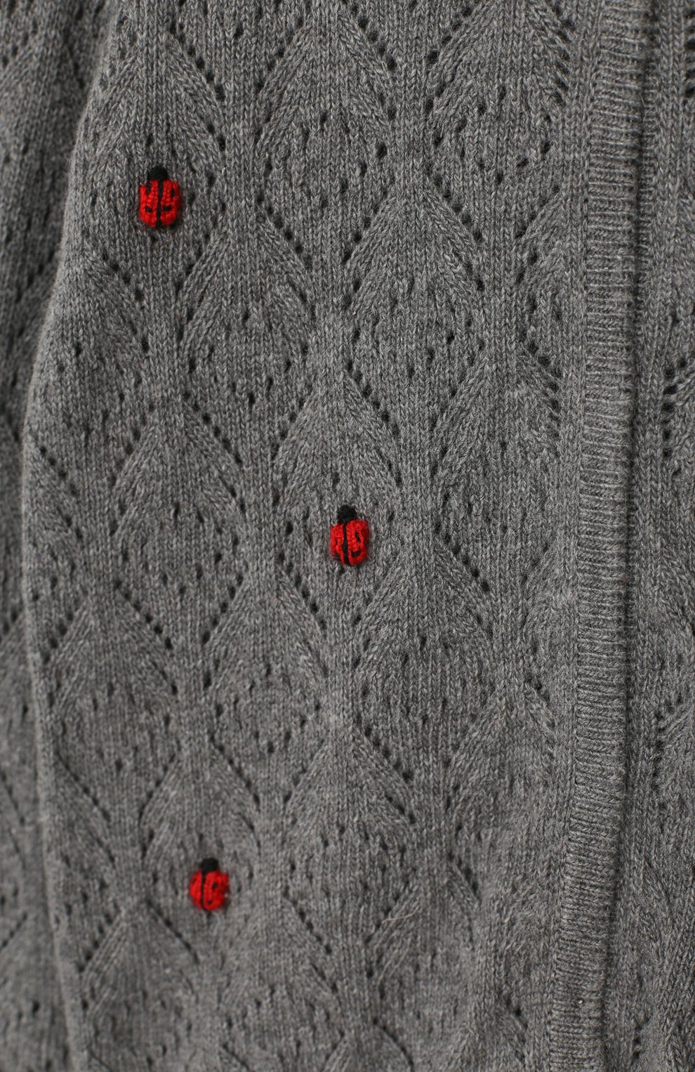 Детский кардиган фактурной вязки с декором Dolce & Gabbana серого цвета   Фото №3