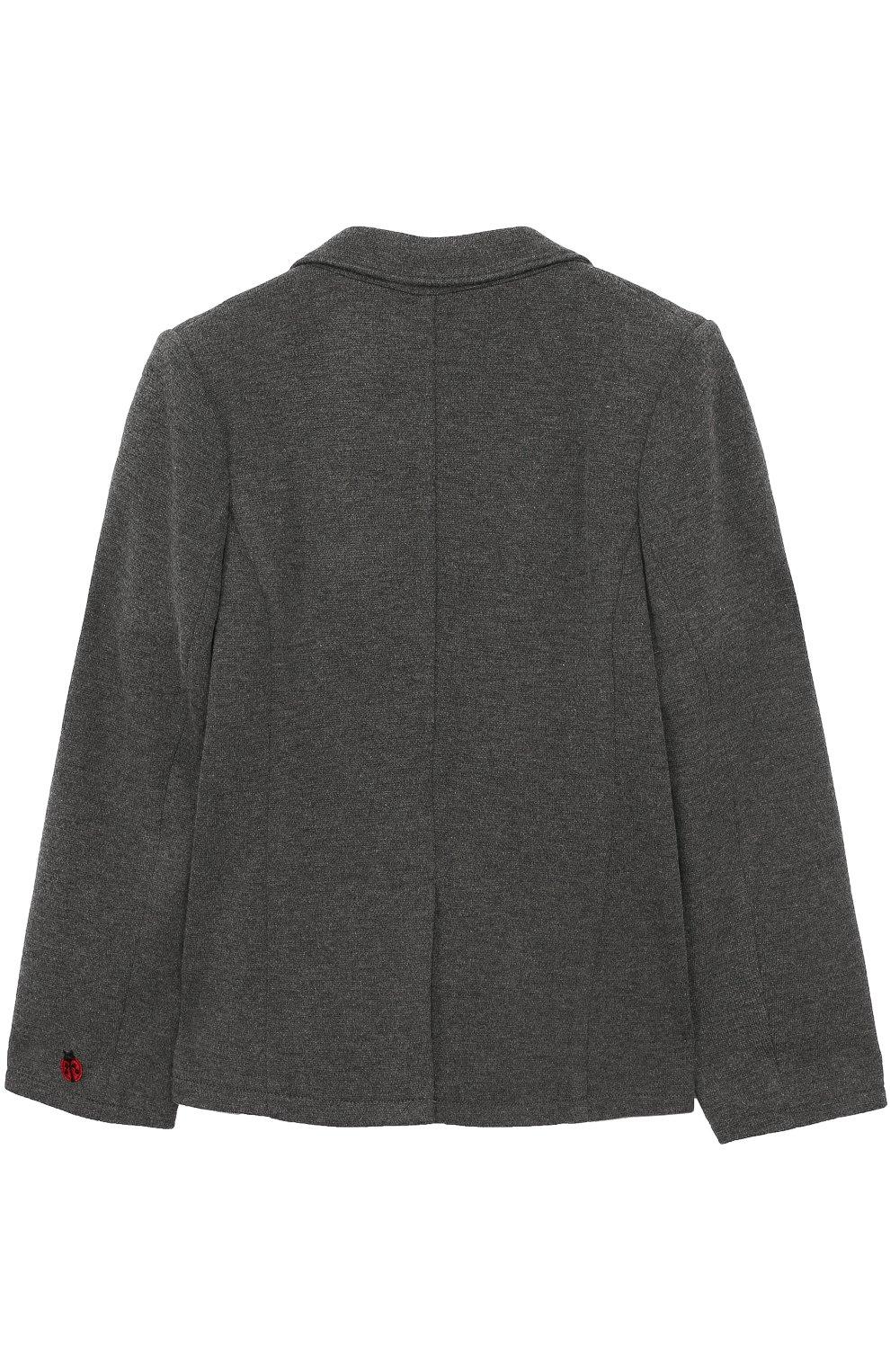 Детский однобортный пиджак из смеси шерсти и вискозы Dolce & Gabbana серого цвета   Фото №2