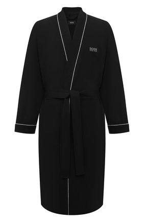 Мужской хлопковый халат BOSS черного цвета, арт. 50229070 | Фото 1