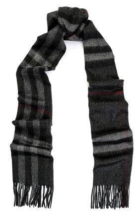Мужской кашемировый шарф BURBERRY темно-серого цвета, арт. 3913731 | Фото 1