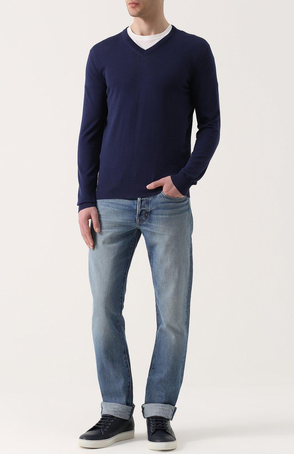 Хлопковый пуловер тонкой вязки   Фото №2