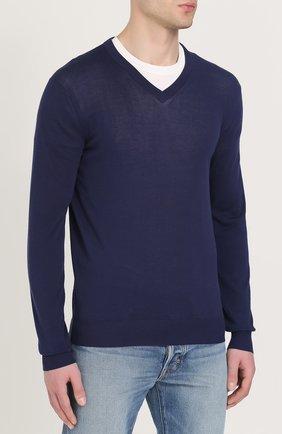 Хлопковый пуловер тонкой вязки   Фото №3