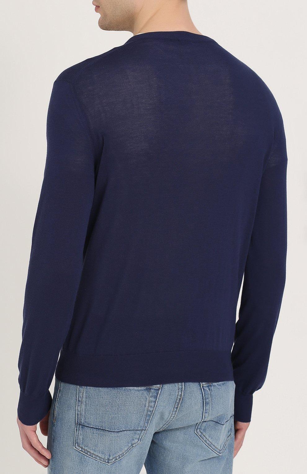 Хлопковый пуловер тонкой вязки   Фото №4