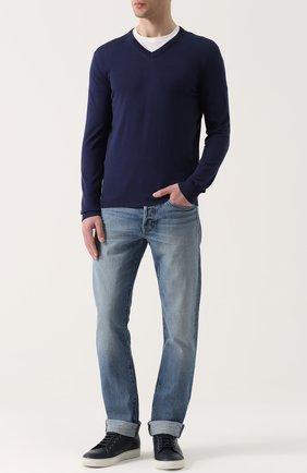 Хлопковый пуловер тонкой вязки malo темно-синий | Фото №1