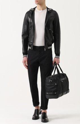 Кожаный бомбер на молнии с капюшоном Dolce & Gabbana черная | Фото №2