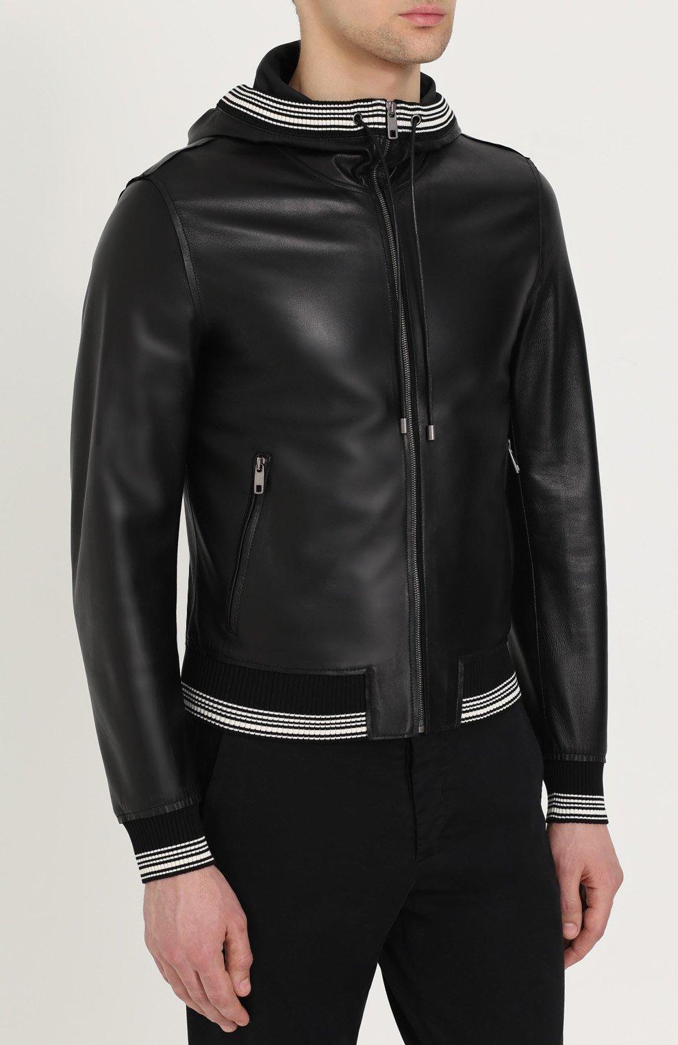 Кожаный бомбер на молнии с капюшоном Dolce & Gabbana черная | Фото №3