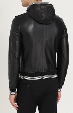 Кожаный бомбер на молнии с капюшоном Dolce & Gabbana черная | Фото №4