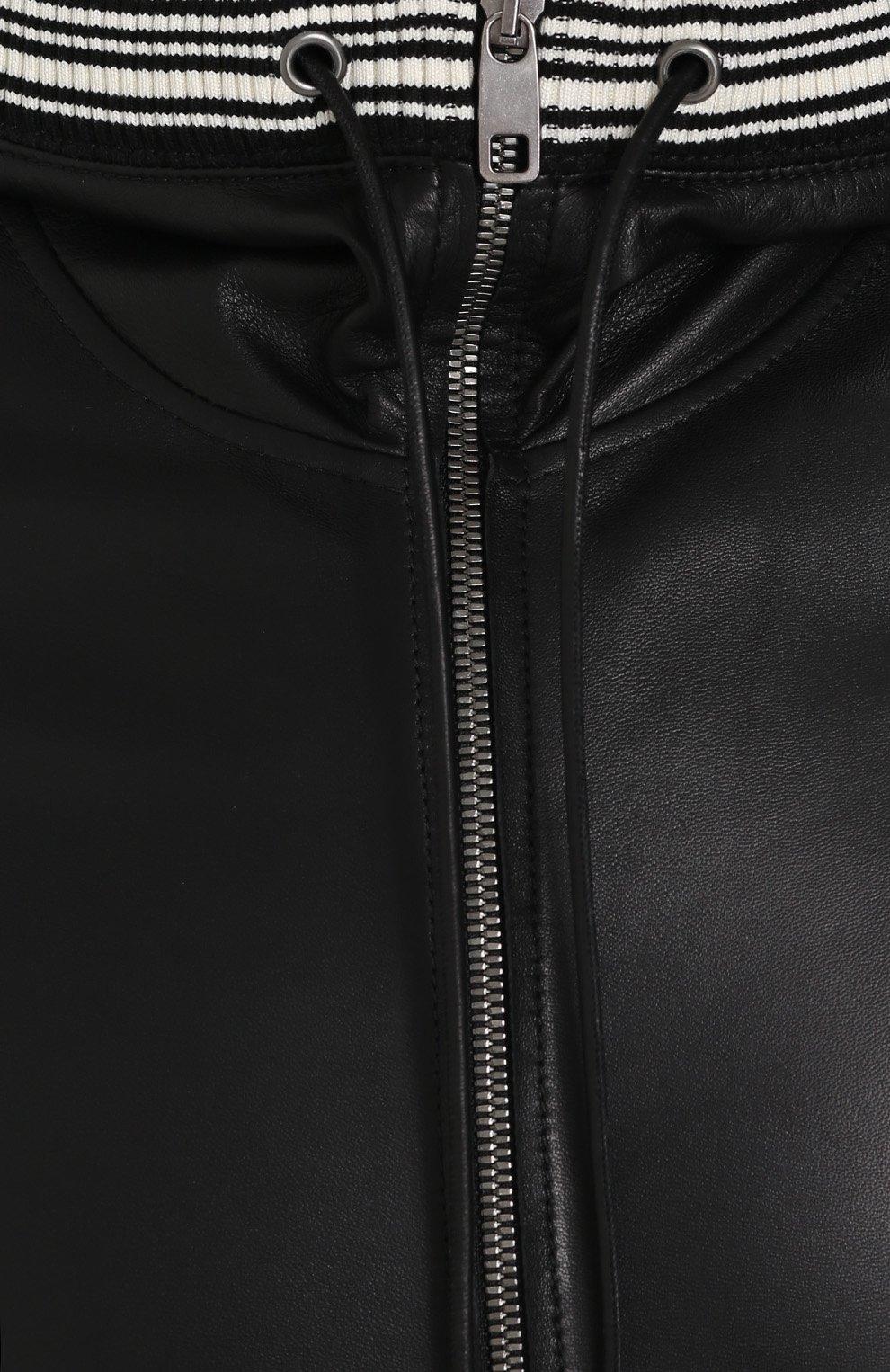 Кожаный бомбер на молнии с капюшоном Dolce & Gabbana черная | Фото №5
