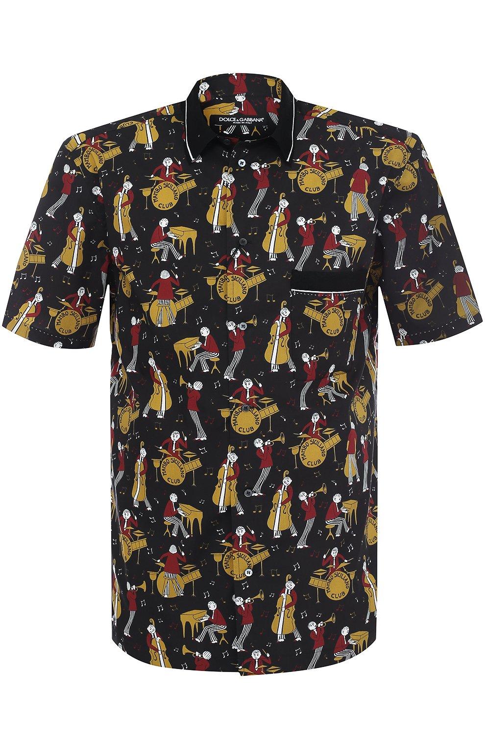 Рубашка из смеси хлопка и шелка с короткими рукавами | Фото №1