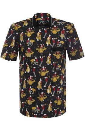 Рубашка из смеси хлопка и шелка с короткими рукавами Dolce & Gabbana черная | Фото №1