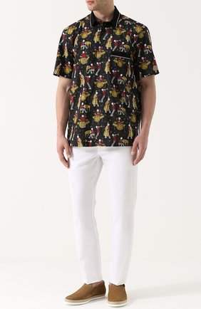 Рубашка из смеси хлопка и шелка с короткими рукавами Dolce & Gabbana черная | Фото №2